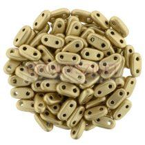 Cseh kétlyukú hasáb - 2 hole bar gyöngy - Matte Metallic Gold -6mm