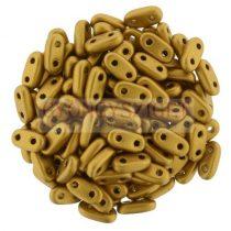 Cseh kétlyukú hasáb - 2 hole bar gyöngy - Matte YellowCopper Gold -6mm