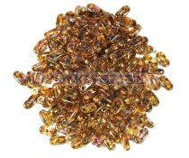 Cseh kétlyukú hasáb - 2 hole bar gyöngy - Gold Luster Smoky Topaz - 6mm