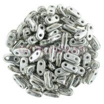 Cseh kétlyukú hasáb - 2 hole bar gyöngy - Silver - 6mm