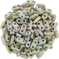 Cseh kétlyukú hasáb - 2 hole bar gyöngy - Alabaster Green Brown Marble -6mm