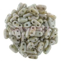 Cseh kétlyukú hasáb - 2 hole bar gyöngy - Alabaster Green Luster Brown Marble -6mm