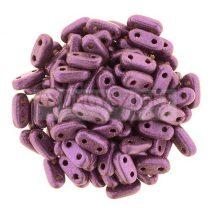 Cseh kétlyukú hasáb - 2 hole bar gyöngy - Metallic Sueded Purple -6mm