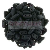 Cseh kétlyukú hasáb - 2 hole bar gyöngy - Matte Black - 6mm