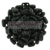 Cseh kétlyukú hasáb - 2 hole bar gyöngy - Black - 6mm
