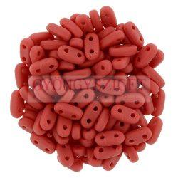 Cseh kétlyukú hasáb - 2 hole bar gyöngy - Matte Opaque Red - 6mm