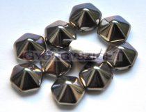 Cseh kétlyukú hatszögletű piramis - white chrome - 12mm