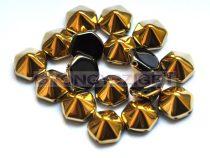 Cseh kétlyukú hatszögletű piramis - jet amber - 12mm