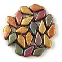 Kite - cseh préselt kétlyukú gyöngy - Matt Metallic Bronze Iris - 9x5mm