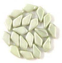 Kite - cseh préselt kétlyukú gyöngy - White Light Green Luster - 9x5mm