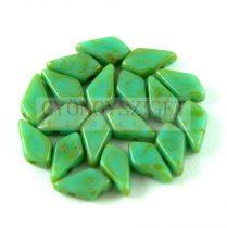 Kite - cseh préselt kétlyukú gyöngy - Turquoise Green Picasso - 9x5mm