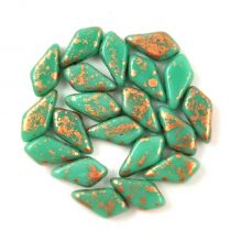 Kite - cseh préselt kétlyukú gyöngy - Turquoise Green Copper Patina - 9x5mm