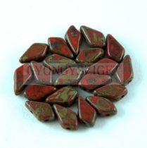 Kite - cseh préselt kétlyukú gyöngy - Dark Red Picasso - 9x5mm
