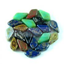 Kite - cseh préselt kétlyukú gyöngy – Picasso Mix - 9x5mm