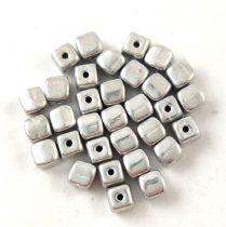 Cseh üveg gyöngy - Kocka - 4mm - Silver