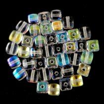 Cseh üveg gyöngy - Kocka - 4mm - Crystal AB