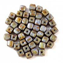 Cseh üveg gyöngy - Kocka - 4mm - Alabaster Brown Grey Terracotta