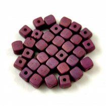 Cseh üveg gyöngy - Kocka - 4mm - Matt Eggplant