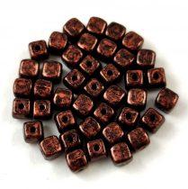 Cseh üveg gyöngy - Kocka - 4mm - Bronze Black Patina