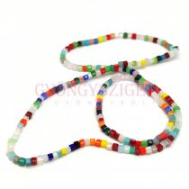 Cube shaped glass beads - Mix - 2-3 mm - string