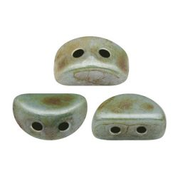 Kos® par Puca®gyöngy - Opaque Blue Green Ceramic Look -3x6mm
