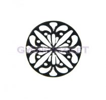 Köztes elem - virágmintás - ezüst színű - 15mm
