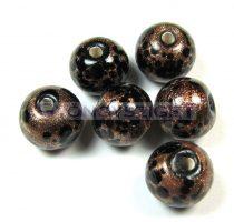 Lampbead - gold black round bead-cca10mm