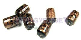 Lámpagyöngy - arany fekete henger - 10x15