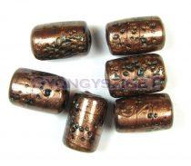 Lámpagyöngy - arany türkiz henger - 10x15