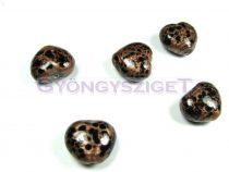 Lámpagyöngy - arany fekete szív-17x15mm