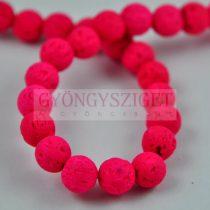Lávakő - golyó - Neon Pink - 8mm - kb.48db/szál