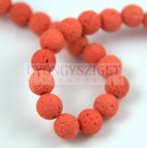 Lávakő - golyó - Orange - 8mm - 48db/szál