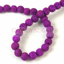 Lávakő - golyó - Purple - 6mm - kb.66db/szál