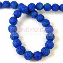Lávakő - golyó - Royal Blue - 10mm - kb.38db/szál