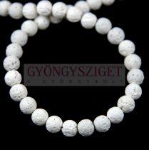 Lávakő gyöngy - 10mm - fehér - szálon