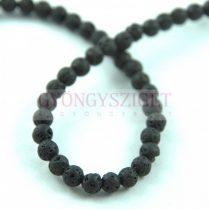 Lávakő gyöngy - 4mm - fekete - szálon (kb. 90db/szál)