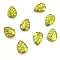 Cseh üveg gyöngy - hosszában fúrt levél alakú - Olive Gold - 10x8mm