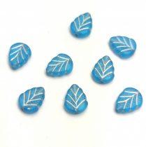 Cseh üveg gyöngy - hosszában fúrt levél alakú - Turquoise Blue Matt Silver - 10x8mm
