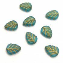 Cseh üveg gyöngy - hosszában fúrt levél alakú - Turquoise Blue Matt Gold - 10x8mm