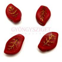 Cseh üveg gyöngy - tetején fúrt levél alakú - Red Matt Gold - 9x14mm