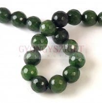 Mashan Jade - round bead - faceted - dyed - Emerald - 8mm - strand