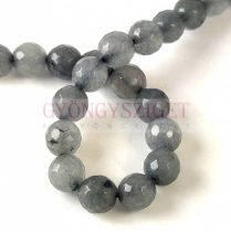 Mashan Jade - round bead - faceted - dyed - Gray - 8mm - strand