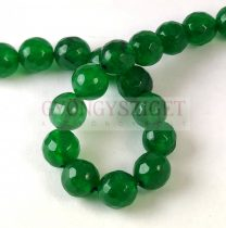 Mashan Jade - round bead - faceted - dyed - Green - 8mm - strand