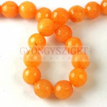 Mashan jáde - csiszolt - színezett - Orange - 8mm - szálon