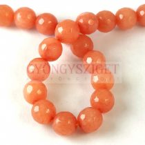 Mashan Jade - round bead - faceted - dyed - Peach - 8mm - strand
