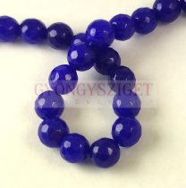Mashan Jade - round bead - faceted - dyed - Royal Blue - 8mm - strand