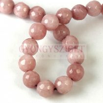 Mashan Jade - round bead - faceted - dyed - Vintage Rose - 8mm - strand