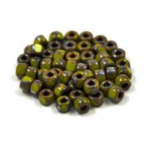 Matubo - 3 oldalon vágott kásagyöngy - oliva picasso - 6/0