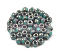 Matubo - 3-cut seedbead - turquoise gray marble - 6/0