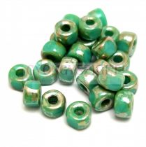 Matubo - 3-cut seedbead - Turquoise Green Picasso - 2/0